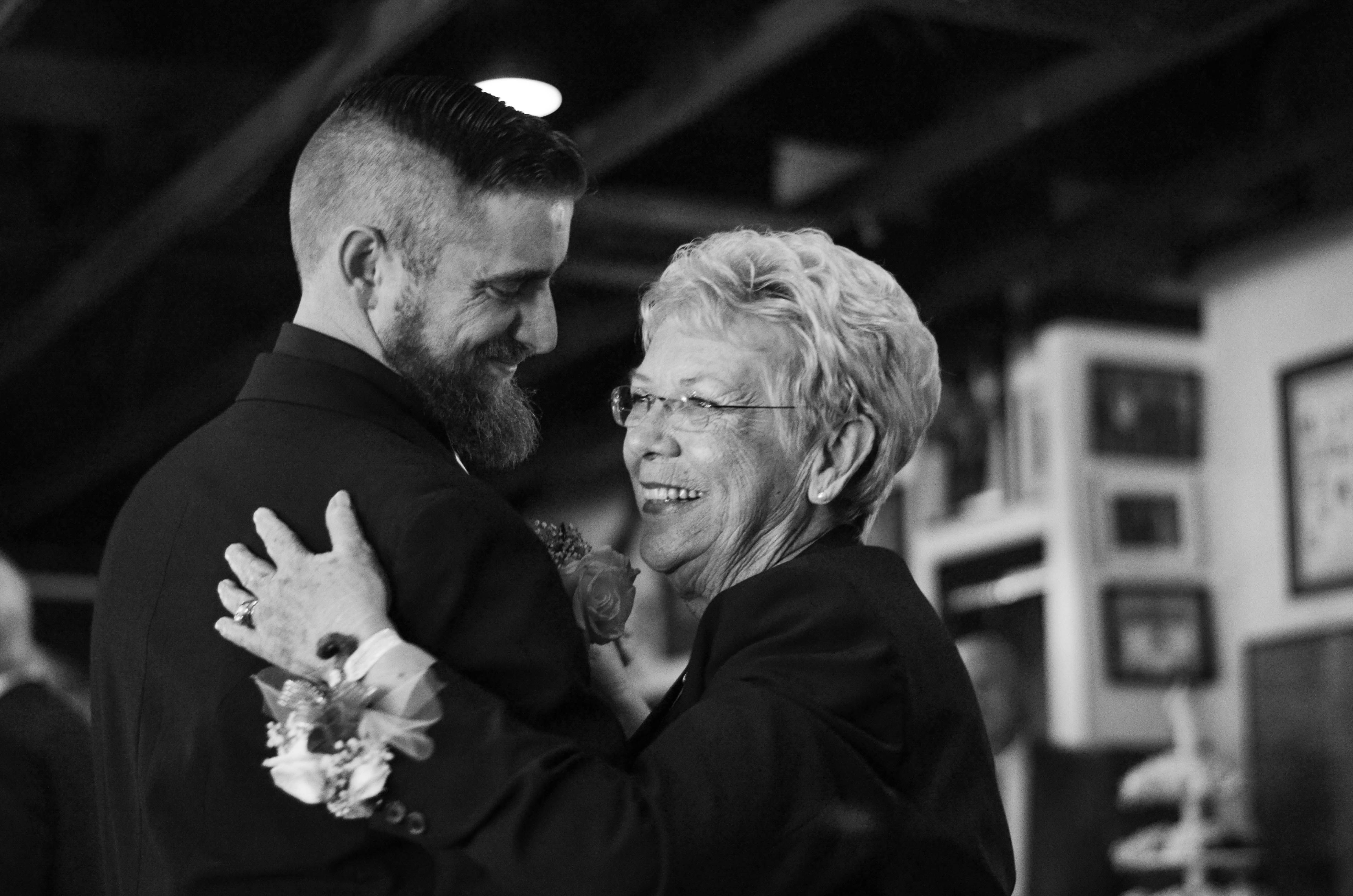 Dorothy McNeill dances with her veteran son at his wedding.